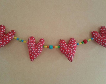 Pretty heart bunting with beads