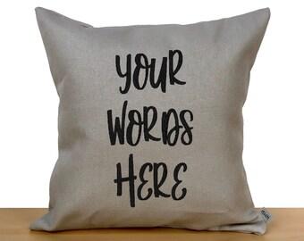 Custom words pillow, custom text pillow, custom pillow cover, personalized throw pillow, custom gift, personalized gift, embroidered pillow