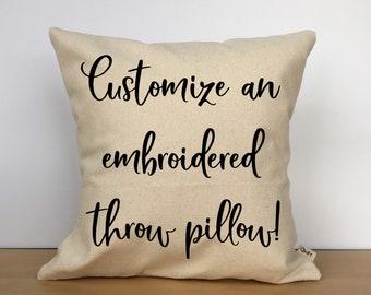 Custom embroidered throw pillow, custom pillow cover, personalized pillow, custom gift, personalized gift, wedding gift, custom gift for her