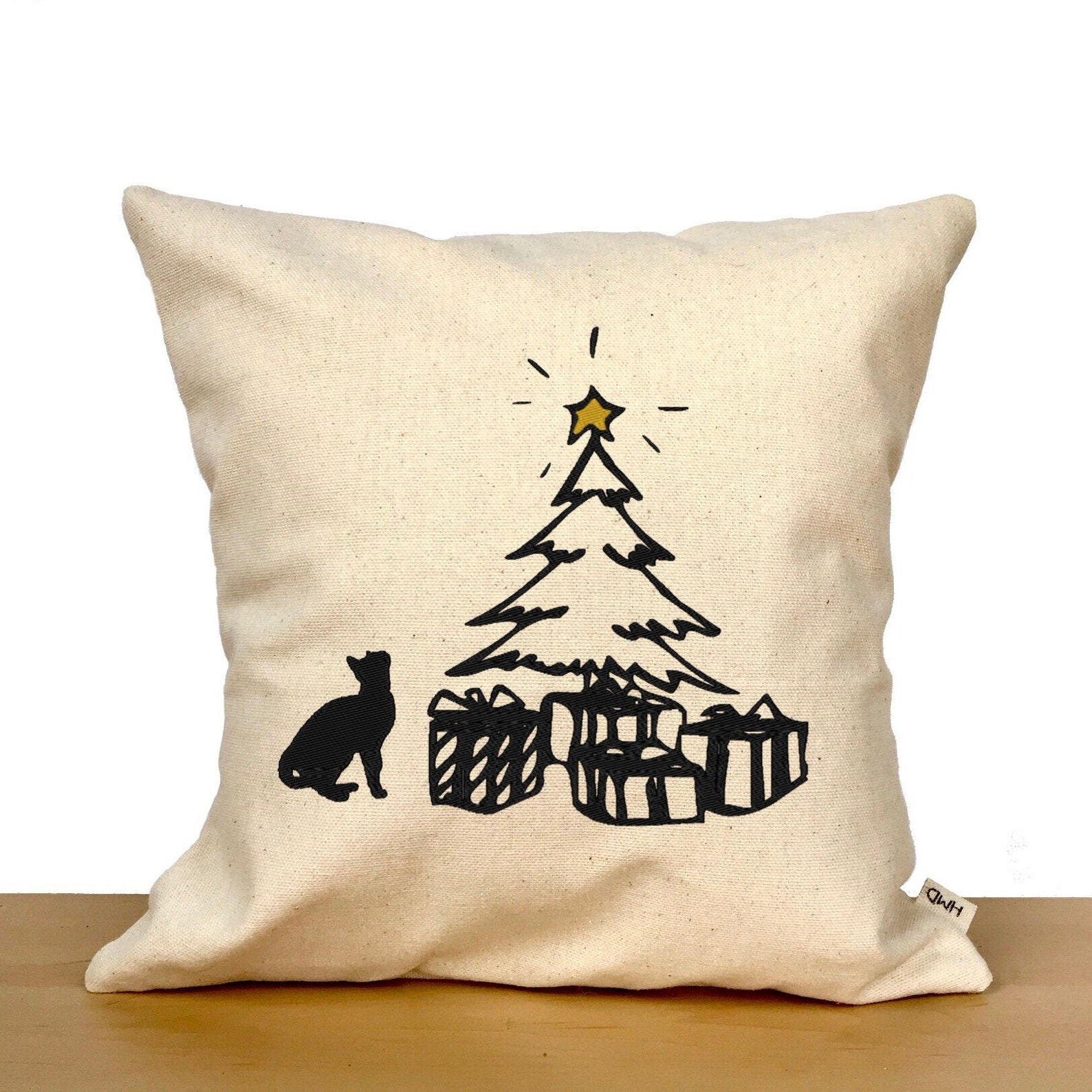Christmas Tree and Cat Pillow
