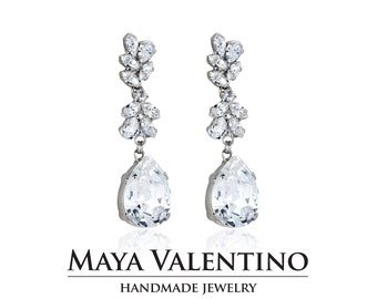 0bbc52f26 Bridal Chandelier Earrings, Swarovski Crystal earrings, Teardrop earrings,  Statement earrings, Drop Earrings, Long Rhinestone Earrings, Gift