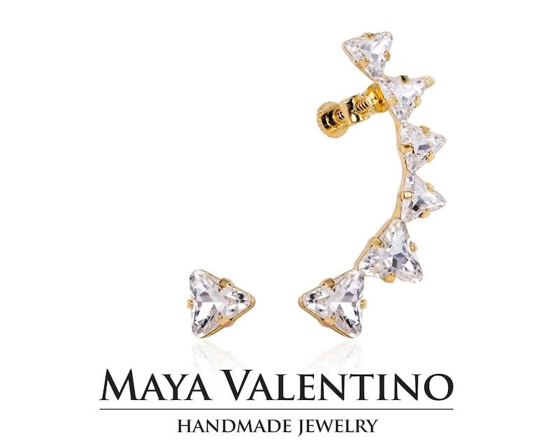 Rose Gold ear cuff Prom Jewelry Gift for her Ear Crawler Earrings Crystal Ear cuff Bridal Ear cuff Climbing earrings Elegant earrings