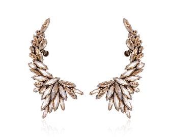 Large ear cuff earrings, Ear cuff earrings, Ear warp, Ear climber, Climbing earrings, Statement earrings, Crystal ear cuff, Gift for her