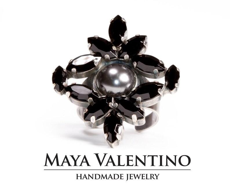 Rhinestone Jewelry Elegant Adjustable Black Ring Gift for Women Statement Jewelry Black Ring Black Gem Stone Ring Black Cocktail Ring