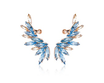 Aquamarine earrings, Ear cuff earrings, Ear cuff, Ear climber, Climbing earrings, Statement earrings, Aqua earrings, Rose gold ear cuff