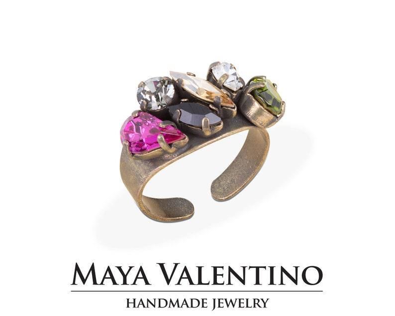 666c9efea Swarovski Cocktail Ring Antique Gold Crystal Ring Vintage | Etsy