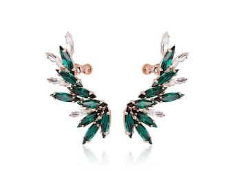 Emerald Earrings, Ear cuff, Ear cuffs, Ear cuff no piercing, Ear climber, Rose gold ear cuff, Gold ear cuff, Cuff earrings, Ear crawler