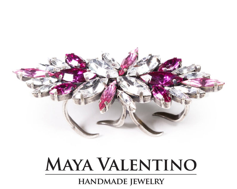 809d705b2 Bridal Pink Ring Pink Rhinestone Cocktail Ring Fuchsia Ring | Etsy