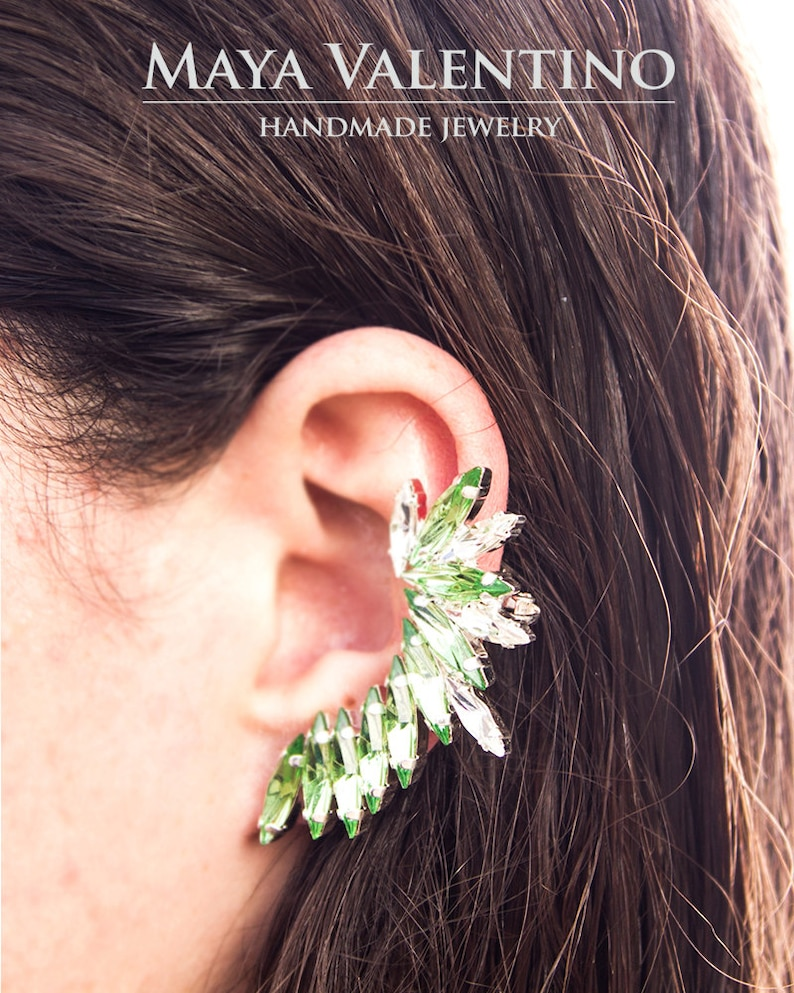 Bridal Gray ear cuff Earrings Gray Ear Cuff Earrings Gray Bridesmaid Earring Gray Crystal Earrings Gray Bridal Earring Gray Ear Climber