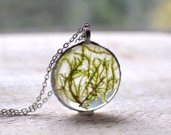 Large MOSS terrarium pendant necklace round, gift for her, plant jewelry, pewter jewelry, bridesmaid gift, woodland forest,pressed flower