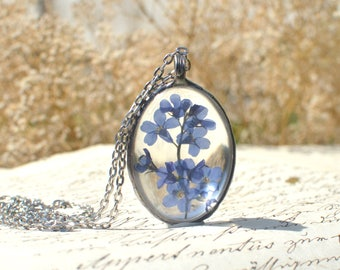 Large FORGET ME NOT terrarium pendant, made to order, oval necklace, periwinkle blue, pressed flower, myosotis, scorpion grass, very meadow