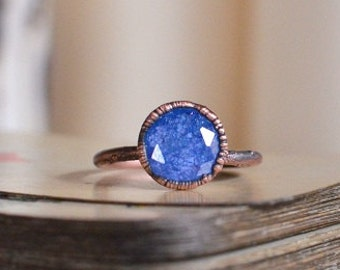 BLUE zirconia ring size US, made to order, raw jewelry, copper ring, electroformed ring, knuckle midi ring, stacking ring for men and women