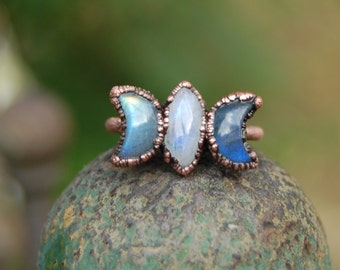 TRIPLE GODDESS ring, choose your size, Moonstone and Labradorite moon ring size US, crescent moon, moon phases copper electroformed,