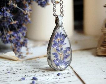 Medium LAVENDER terrarium pendant drop, lavender necklace, nature necklace, flower necklace, tin pewter soldered necklace, pressed flower