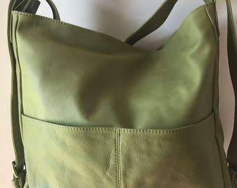 Convertible backpack handbag. Shoulder tote handmade from genuine leather.  Handmade soft 649746041a264