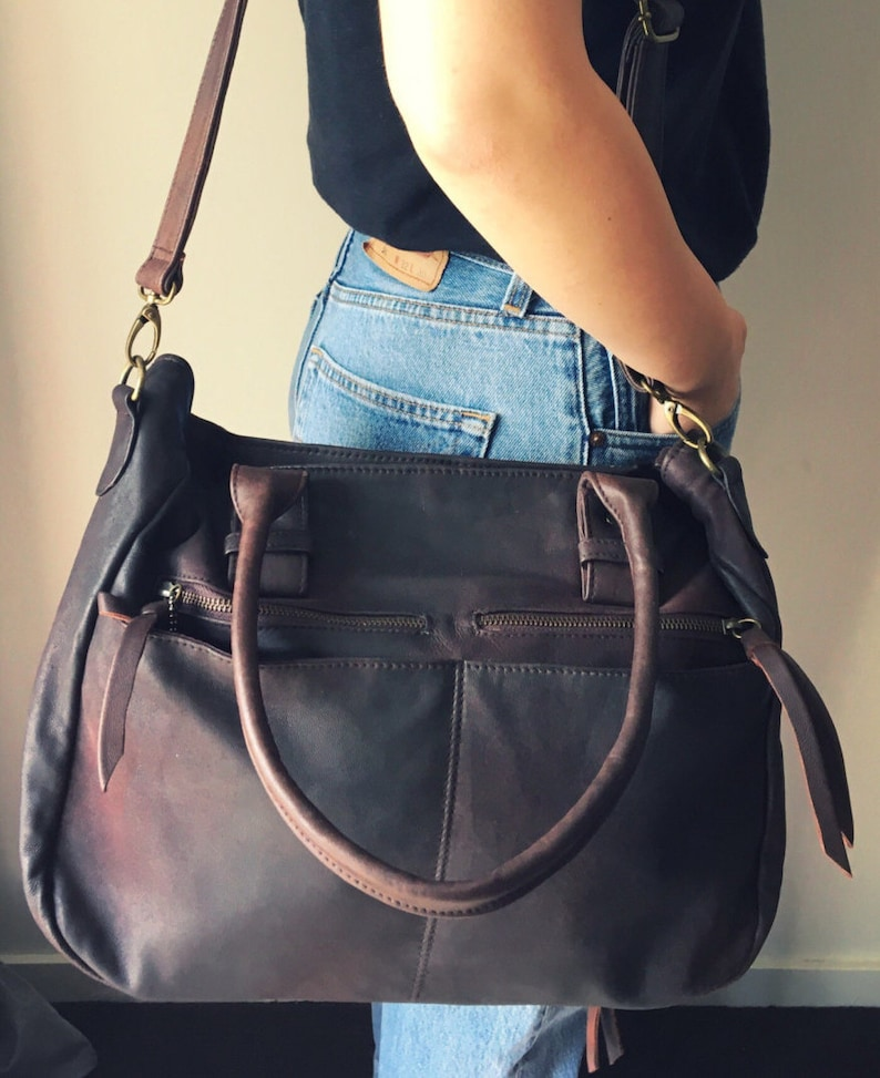 bda1e1a2900d Large leather handmade tote bag. Everyday bag, laptop bag, shoulder bag.  Handles and crossbody strap,lots of pockets and compartments.