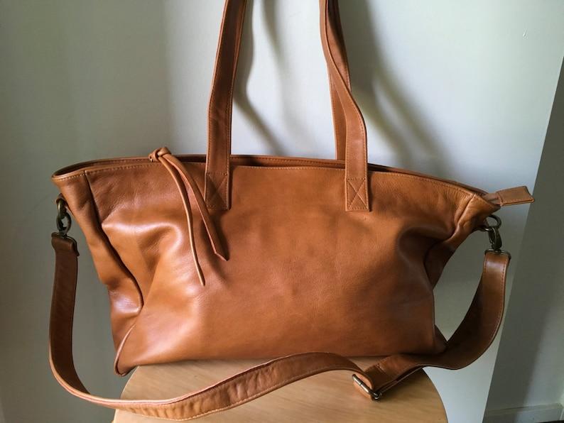 dd76e003f4 Large Tan Leather Totezip closure tote bag.Handmade crossbody