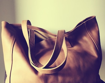 Tan soft leather tote bag. Classic,timeless shoulder tote bag.Traditional style,handmade with strong shoulder straps.Brown leather tote