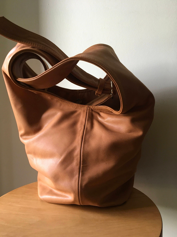 15a175f37fcaed Slouchy hobo style soft leather handbag handmade shoulder | Etsy