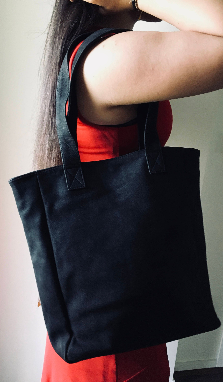 0e232159c2 Black Leather tall Tote