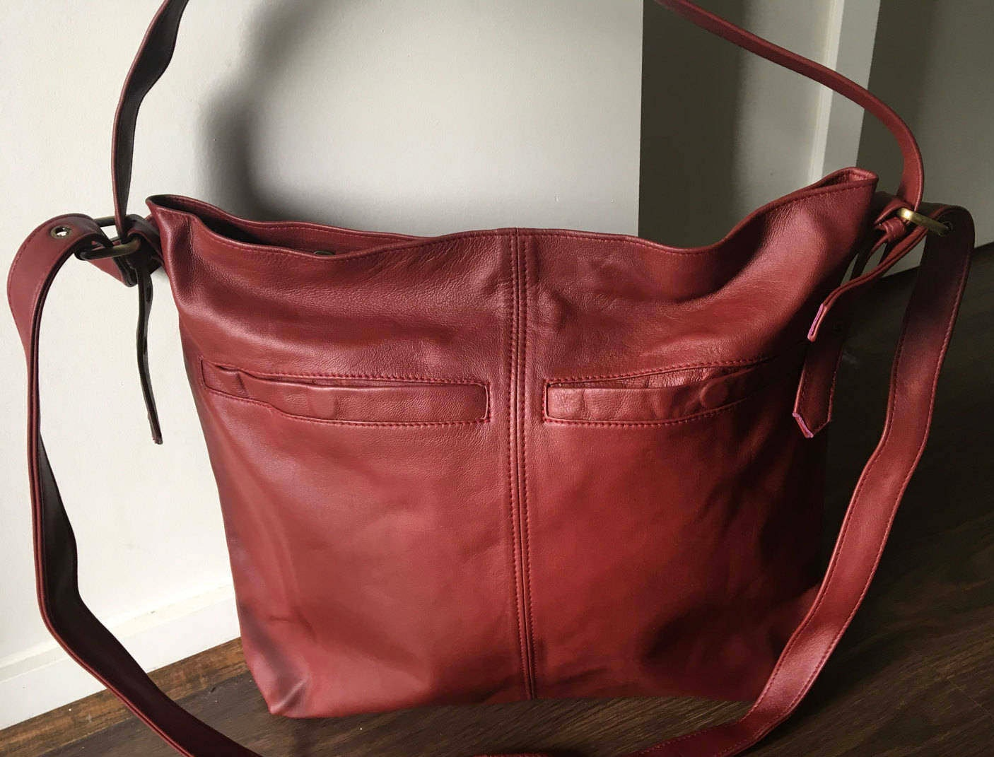 534882691f Leather shoulder Tote Bag.Stylish with adjustable strap with belt ...
