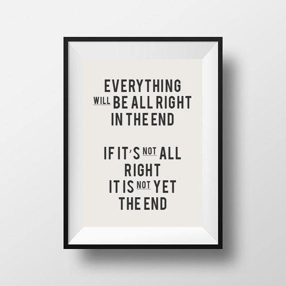 Everything Will Be Alright Inspirational Quote Printable Etsy