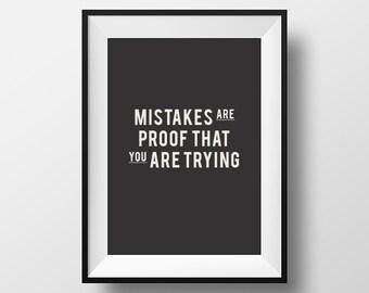 Mistakes Quote, Printable, Printable Art, Printable Typography, Printable Quote, Digital Download, Instant Download, Typography Print