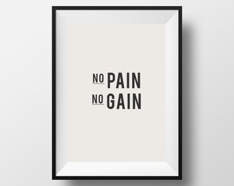 No pain, No gain,  fitness quote, fitness poster, download, instant art, gym poster, motivational quote, instant download, digital art