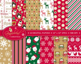 Christmas Digital Paper,Christmas Papers,Santa Papers,Scrapbook Paper,Reindeer Papers,Christmas Patterns,Christmas Background,Commercial (P3