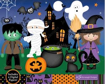 Halloween clipart,Halloween Digital papers,Witch clipart,Jack O Lantern,Pumpkin clip art,Cat clipart,Bat clipart,Commercial Use (C13)