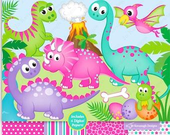 Dinosaur clipart & digital paper, Girl Dinosaurs clipart, Pink dinosaur clipart, T-rex,Pterodactyl,Triceratops,Scrapbooking,Commercial (C46)