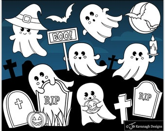 Halloween digital stamps, Ghost digital stamps, digital stamps, Halloween clipart, Pumpkin, Ghost clipart, Halloween, Commercial Use (S44)