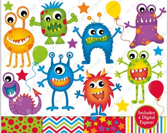 Monster Clipart,Monster Digital Papers,Monster Clip Art,Alien Clipart,Monster Party,Monsters,Fun Digital Papers,Commercial Use (C17)