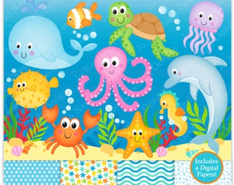 Sea Animals Clip Art,Under The Sea Clipart,Under The Sea Digital Papers,Sea Clip Art,Ocean Clipart,Cute Sea Animals,Scrapbooking,Commercial