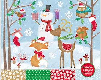 Christmas Clipart,Christmas Digital Papers,Christmas Clip Art,Fox Clipart,Holiday Clipart,Reindeer Clipart,Snowman Clipart,Commercial (C5)