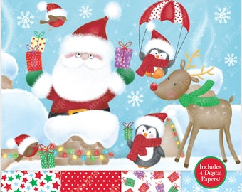 Christmas clipart - Christmas Digital Papers - Santa Clipart - Christmas Clip Art - Penguin Clipart - Rudolph Clipart - Robins - Commercial