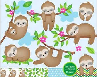Sloth Clipart, Cute Sloth Clipart, Sleepy Sloths, Baby Sloth Clip Art, Sloths, Sloth Digital Papers, Commercial Use (C28)