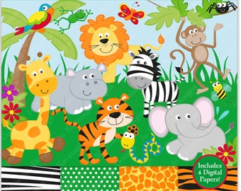 Jungle Clip Art, Jungle Digital Papers,Jungle Clipart,Jungle Animals Clip Art,Animal Clip Art,Scrapbooking,Animals, Safari, Zoo Clipart