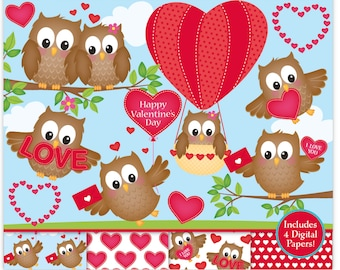 Valentine Clipart,Valentine Digital Papers,Valentine Owls Clip Art,Owl Clipart,Cute Owls Clipart,Hearts Clipart,Scrapbooking,Commercial