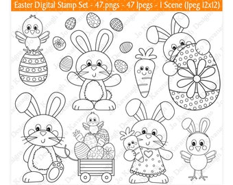 Easter Digital Stamps,Easter Bunny Stamps,Easter Clipart,Easter Bunny Clipart,Easter Eggs Clipart,Easter Chick Clipart,Scrapbooking