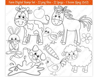 Farm Digital Stamps,Farm Animal Digital Stamps,Digital Stamps,Barnyard Digital Stamps,Farm Clipart,Barnyard Clipart,Commercial Use (S12)
