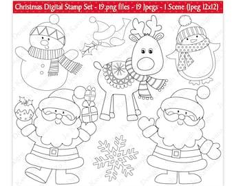 Christmas Digital Stamps,Digital Stamps,Santa Digital Stamps,Rudolph Digital Stamps,Christmas Clipart,Christmas Stamp,Snowman,Commercial(S4)