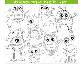 Monster Digital Stamps,Alien Digital Stamps,Digital Stamps,Monster Stamps,Alien Stamps,Monster Clipart,Alien Clipart,Commercial Use (S16)