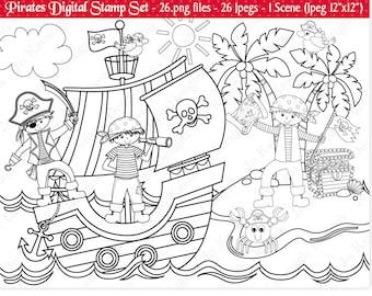 Pirate Digital StampsDigital StampsPirate ClipartClipartPirate Ship ClipartCommercial Use S18