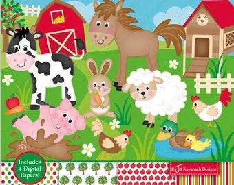 Farm animal clipart | Etsy
