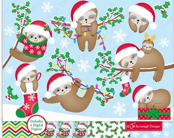 Christmas Sloth Clipart, Cute Christmas Sloth, Sleepy Sloths, Christmas Clip Art, Christmas Sloths,Sloth Digital Papers,Commercial Use (C38)