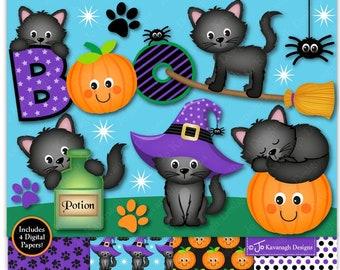 Halloween cat clipart, Cat clipart, Kitten clipart, Cats, Pumpkin, Jack O Lantern, Black cats, Halloween Digital papers,Commercial Use (C39)
