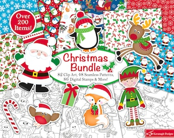 Christmas clipart Bundle, Christmas digital stamps, Christmas digital paper, Christmas Patterns, Scrapbooking,Commercial Use (B3)
