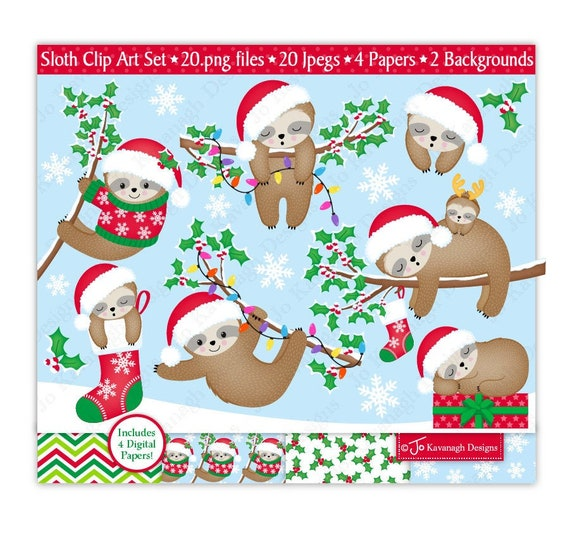Cute Christmas Clip Art.Christmas Sloth Clipart Cute Christmas Sloth Sleepy Sloths Christmas Clip Art Christmas Sloths Sloth Digital Papers Commercial Use C38