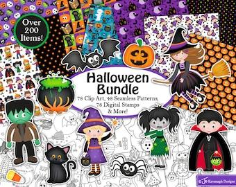 Halloween clipart Bundle, Halloween digital stamps, Halloween digital paper, Halloween Patterns, Scrapbooking,Commercial Use (B2)